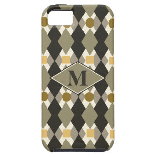 Monogrammed earth tones retro style pattern iPhone 5 cases