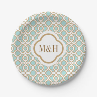 Monogrammed Eggshell Blu and Gold Moroccan Wedding Paper Plate