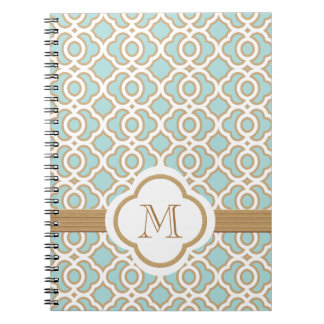 Monogrammed Eggshell Blue and Gold Moroccan Spiral Notebook