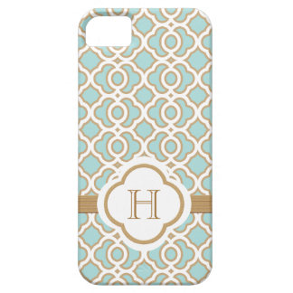 Monogrammed Eggshell Blue Gold Moroccan iPhone 5 Covers
