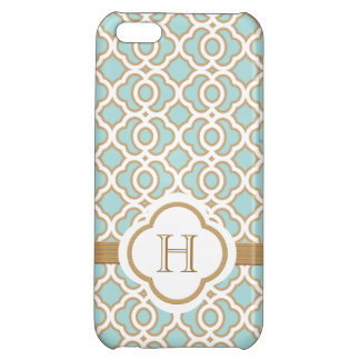 Monogrammed Eggshell Blue Gold Moroccan iPhone 5C Cover