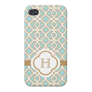 Monogrammed Eggshell Blue Gold Moroccan iPhone 4/4S Case