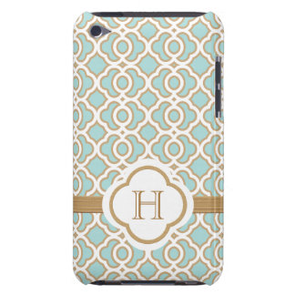 Monogrammed Eggshell Blue Gold Moroccan iPod Touch Case