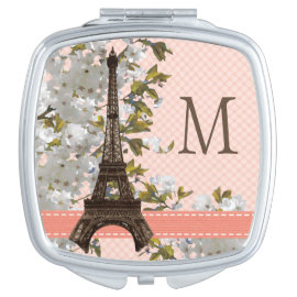 MONOGRAMMED EIFFEL TOWER CHERRY BLOSSOM COMPACT MIRROR
