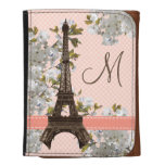 Monogrammed Eiffel Tower Cherry Blossom Wallet