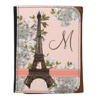 Monogrammed Eiffel Tower Cherry Blossom Wallets