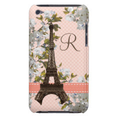 Monogrammed Eiffel Tower Damask Ipod Touch 4 Case at Zazzle