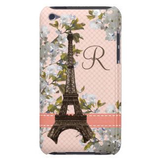 Monogrammed Eiffel Tower Damask iPod Touch 4 Case