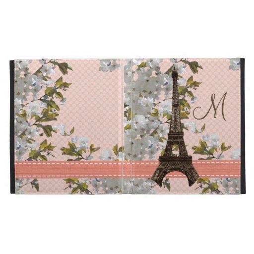 Monogrammed Eiffel Tower iPad Folio Case Cover