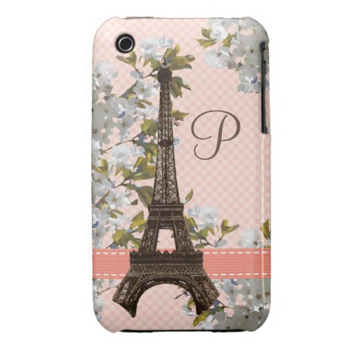Monogrammed Eiffel Tower iPhone 3 Case-Mate Barely