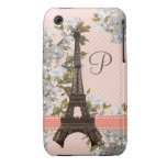 Monogrammed Eiffel Tower iPhone 3 Case-Mate Barely Case-Mate iPhone 3 Case