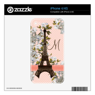Monogrammed Eiffel Tower iPhone 4 / 4s Skin Skin For The iPhone 4S