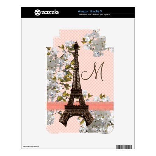 Monogrammed Eiffel Tower Kindle 3 Skin
