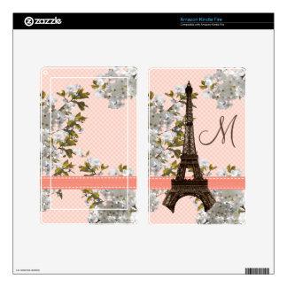 Monogrammed Eiffel Tower Kindle Fire Skin