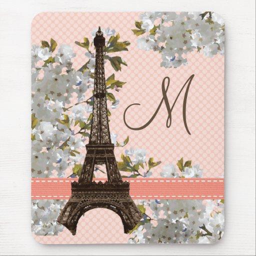 Monogrammed Eiffel Tower Mousepad