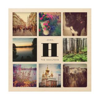 Monogrammed Eight Photo Instagram Collage Art