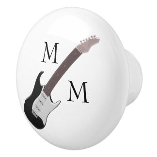 Monogrammed Electric Guitar Ceramic Knob