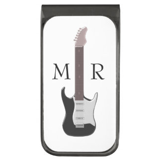 Monogrammed Electric Guitar Gunmetal Finish Money Clip