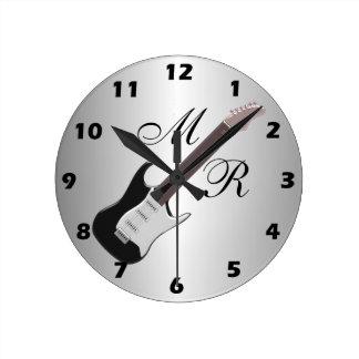 Monogrammed Electric Guitar Round Clock