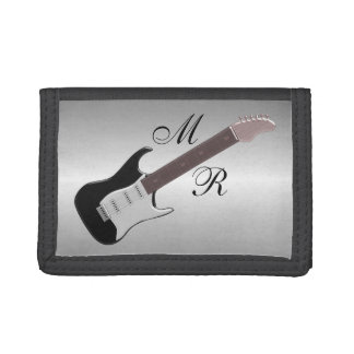 Monogrammed Electric Guitar Tri-fold Wallets