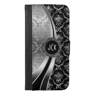 Monogrammed Elegant Black & Silver Floral Damask iPhone 6/6s Plus Wallet Case