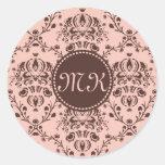 Monogrammed Elegant Chocolate Brown Damask Peach Stickers