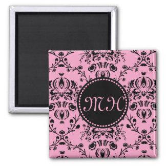 Monogrammed Elegant Classy Pink Black Damask Girly 2 Inch Square Magnet