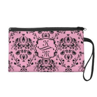 Monogrammed Elegant Classy Pink Black Damask Girly Wristlet