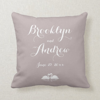 Monogrammed Elegant Grey Wedding Pillows Swans