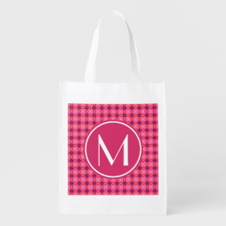 Monogrammed Elegant Pink Spider Flower Petals Patt Grocery Bags