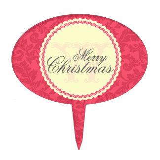 Monogrammed Elegant Red Damask Christmas Wish Cake Picks
