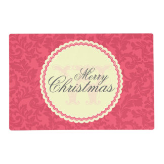 Monogrammed Elegant Red Damask Christmas Wish Placemat