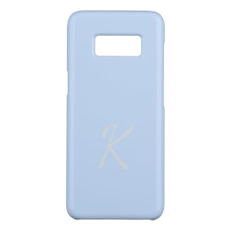 Monogrammed Elegant Soft Light Blue Case