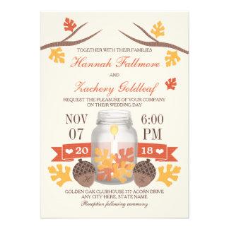 Monogrammed Fall Leaf Mason Jar Wedding Invites