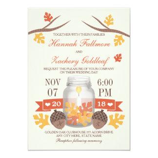 """Monogrammed Fall Leaf Mason Jar Wedding 5"""" X 7"""" Invitation Card"""