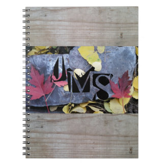 Monogrammed Fall Leaves and Wood Grain Background Spiral Notebook