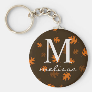 Monogrammed Fall Leaves Keychain Gift Brown Orange