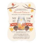 Monogrammed Fall Leaves Mason Jar Bridal Shower 5x7 Paper Invitation Card