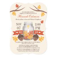 Monogrammed Fall Leaves Mason Jar Bridal Shower Card