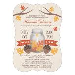 Monogrammed Fall Leaves Mason Jar Bridal Shower Custom Announcements