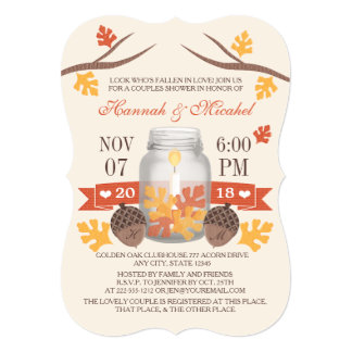 Monogrammed Fall Leaves Mason Jar Couples Shower 5x7 Paper Invitation Card