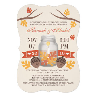 Monogrammed Fall Leaves Mason Jar Couples Shower Invite