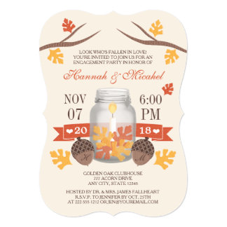 Monogrammed Fall Leaves Mason Jar Engagement Party Card