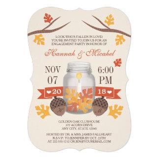 Monogrammed Fall Leaves Mason Jar Engagement Party Invites