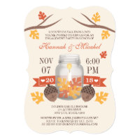 Monogrammed Fall Leaves Mason Jar Engagement Party Invitation