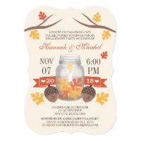 Monogrammed Fall Leaves Mason Jar Engagement Party Invitation