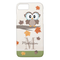 Monogrammed Fall Owl iPhone 7 Case