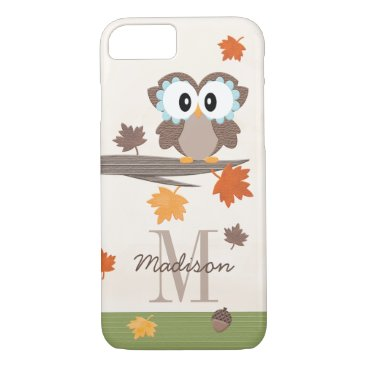 Beach Themed Monogrammed Fall Owl iPhone 8/7 Case