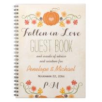 Monogrammed Fall Pumpkin Acorn Wedding Guest Boook Notebook