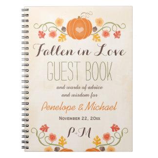 Monogrammed Fall Pumpkin Acorn Wedding Guest Boook Spiral Notebook